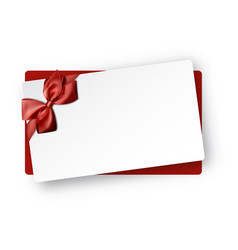 white holiday card with red bow vector image