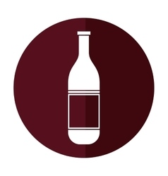 Wine bottle with cork empty label shadow vector