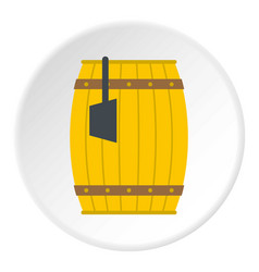 Wooden barrel with ladle icon circle vector