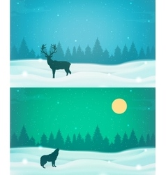 Winter landscape background set with winter tree vector