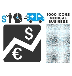 Euro forex market icon with 1000 medical business vector