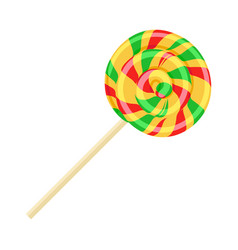 Caramel striped candy on stick isolated funny vector