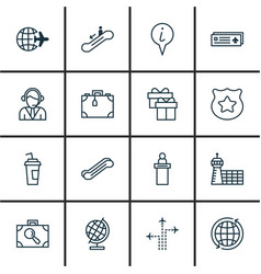 set of 16 travel icons includes registration vector image