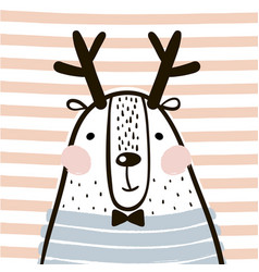 Cute cartoon dear in scandinavian style childish vector