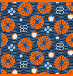 Japanese pattern in blue and orange colors vector