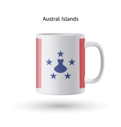 Austral islands flag souvenir mug on white vector