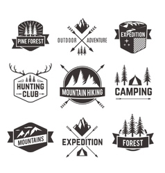 Tourism emblems labels set vector