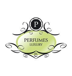 Abstract green logo for perfumes vector