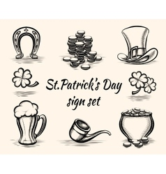 Hand drawn st patricks day signs vector