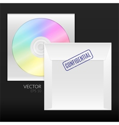 Cd or dvd disk with packing envelope vector