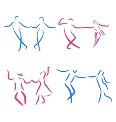 Dancing couple logo set vector