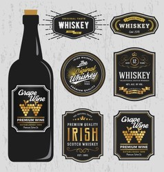 Vintage premium whiskey brands label design vector