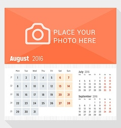August 2016 desk calendar for 2016 year week vector