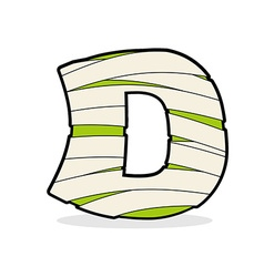 Letter d mummy typography icon in bandages vector