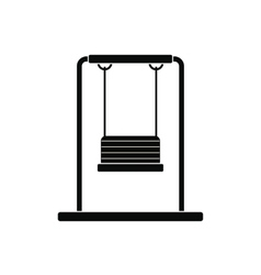 Playground swing black simple icon vector