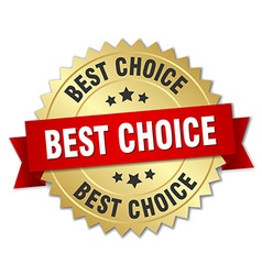 best choice 3d gold badge with red ribbon vector image