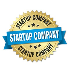 Startup company 3d gold badge with blue ribbon vector