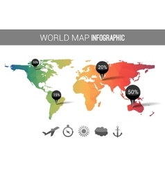 3d world map with points and percantage vector