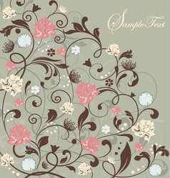 Gray floral card vector