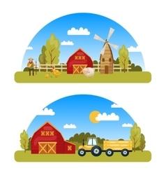 Arcuate farm panorams vector