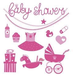 Baby shower icons set for girl vector