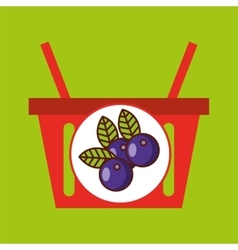 Basket shopping plum juicy fruit vector