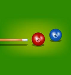 billiard cue and two billiard balls vector image vector image