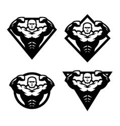 Bodybuilder sport fitness logo vector