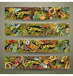 Cartoon hand-drawn camp doodle banners vector