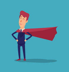 cartoon successful businesman superhero in suit vector image