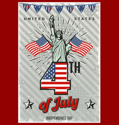 Colored vintage independence day poster vector