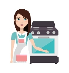 Cooker woman with oven vector
