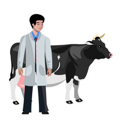 cow veterinarian character vector image vector image