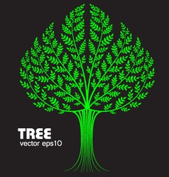 decorative tree on black background vector image