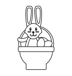 Easter rabbit inside egg basket thin line vector