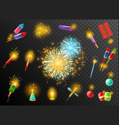 firework crackers pyrotechnic dark background vector image vector image