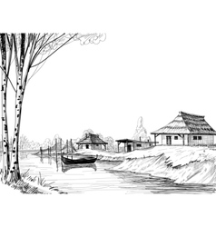 Fishing village sketch vector image vector image