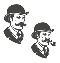 Gentleman head with vintage hat with smoking pipe vector