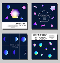 Geometric neon holographic cards cover design vector