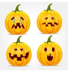 halloween pumpkin making face expressions vector image