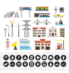 infrastructure and transportation objects and vector image vector image