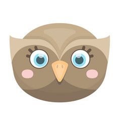 owl muzzle icon in cartoon style isolated on white vector image