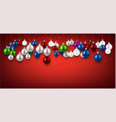red banner with colorful christmas balls vector image vector image