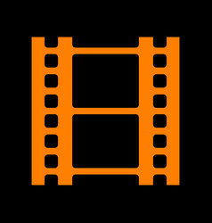 reel of film sign orange icon on black background vector image