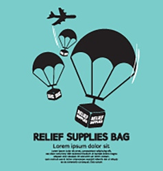Relief supplies bag with parachutes vector