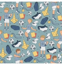 Seamless with soccer players vector image