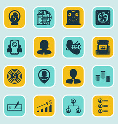 Set of 16 human resources icons includes money vector