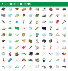 100 book icons set cartoon style vector image vector image