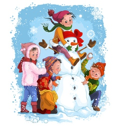 Winter games children and snowman vector