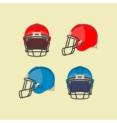 American football red blue helmets front side view vector